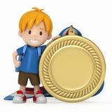 Miúdo com medalha grande Fotos de Stock
