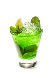 Midori Fizz. Green Cocktail with Midori, Vodka, Lime and Ice Royalty Free Stock Photo