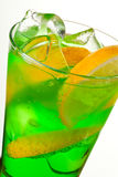 Midori Fizz. Green Cocktail with Midori, Vodka, Lemon and Ice Stock Image