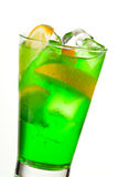 Midori Fizz. Green Cocktail with Midori, Vodka, Lemon and Ice Royalty Free Stock Image