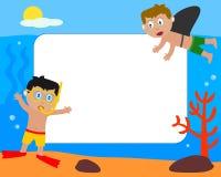 Miúdos & frame da foto do mar [1] Fotografia de Stock