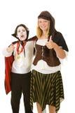 Miúdos de Halloween - polegares acima Imagem de Stock Royalty Free