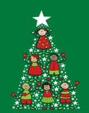 Miúdos dos desenhos animados da árvore de Natal Fotos de Stock