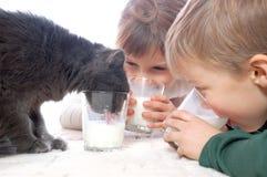 Miúdos e leite bebendo do gato junto Fotografia de Stock Royalty Free