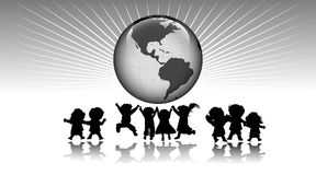 Miúdos e mundo Fotos de Stock Royalty Free