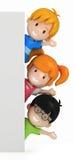 Miúdos e placa em branco Fotografia de Stock