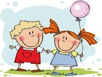 Miúdos engraçados com balão Imagens de Stock Royalty Free