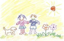 Miúdos, flores, cão e luz do sol Fotos de Stock Royalty Free