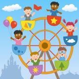 Miúdos na roda de Ferris Fotos de Stock Royalty Free