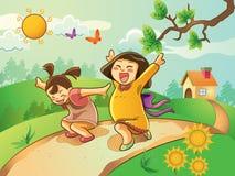 Miúdos que jogam no jardim Foto de Stock