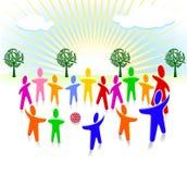 Miúdos a unir-se junto Imagens de Stock