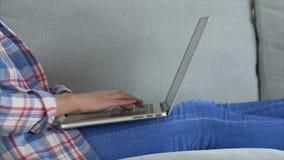 Midsection женщины печатая на компьтер-книжке лежа на софе видеоматериал