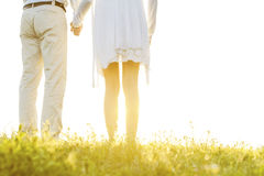 Midsection back view of couple holding hands on grass against sky Royalty Free Stock Photography