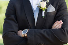 Midsection bridegroom with arms crossed Royalty Free Stock Photography