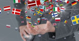 Midsection of business person with various flags royalty free illustration