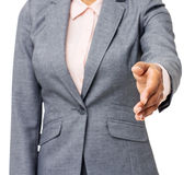 Midsection Of Businesswoman Gesturing Handshake Royalty Free Stock Photos