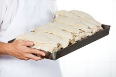 Midsection Of Butcher With Dredge Chicken Tray Stock Photos