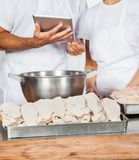 Midsection Of Butchers Holding Digital Tablet Stock Image