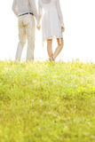 Midsection of couple holding hands while standing on grass against sky Stock Photo