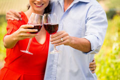 Midsection of couple toasting wine Stock Image
