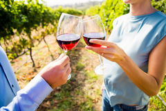 Midsection of couple toasting wineglasses Stock Images