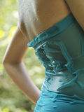 Midsection Of Cropped Woman In Wet Dress Outdoors Stock Images