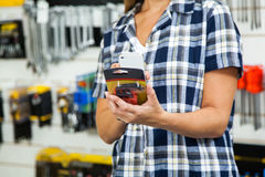 Midsection Of Customer Scanning Product's Barcode Stock Photography
