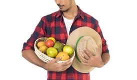 Midsection del granjero que sostiene una cesta de frutas Imágenes de archivo libres de regalías
