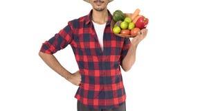 Midsection del granjero que sostiene una cesta de verduras Foto de archivo