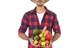 Midsection del granjero que sostiene una cesta de verduras Fotos de archivo libres de regalías