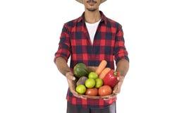 Midsection del granjero que sostiene una cesta de verduras Imagen de archivo