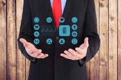Midsection dell'uomo d'affari con le icone mediche Immagine Stock Libera da Diritti