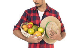 Midsection of farmer holding a basket of fruits Royalty Free Stock Images