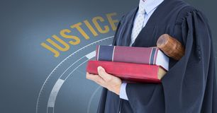 Midsection of judge with books Stock Photography