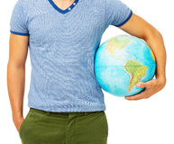 Midsection Of Man Holding Globe Royalty Free Stock Images