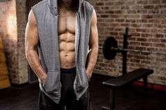 Midsection of man wearing hood Stock Photos