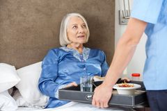 Midsection Of Nurse Serving Breakfast To Senior. Midsection of male nurse serving breakfast to senior women on bed in nursing home Stock Photo