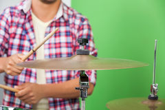 Midsection Of Professional Playing Cymbal Royalty Free Stock Photos