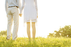 Midsection rear view of couple holding hands on grass against sky Stock Photos