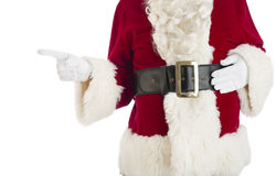 Midsection Of Santa Claus Pointing royalty free stock images