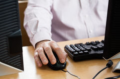 Midsection Of Senior Man Using Computer In Classroom Royalty Free Stock Images