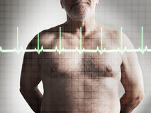 Midsection Of Shirtless Man And Heartbeat Graph stock images