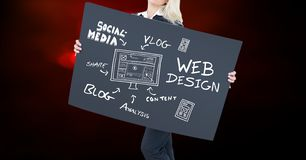 Midsection of woman holding billboard with text and diagram against colored background Royalty Free Stock Image