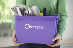 Midsection Woman With Recycling Container Stock Image