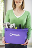 Midsection Woman With Recycling Container Royalty Free Stock Images
