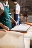 Midsection Worker With Mold In Paper Factory Stock Images