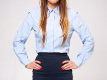 Midsection of young business woman standing in formal dress. Stock Photo
