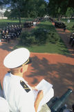 Midshipman. Checking list at formal dress parade Royalty Free Stock Photography