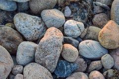 Midsized skały, kamienie i otoczaki w, różnorodnych kolorach i kształtach obrazy stock