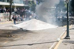 23-01-2019 Venezuelan Protestants take to the streets to express their discontent at the illegitimate takeover of Nicolas Maduro royalty free stock photos